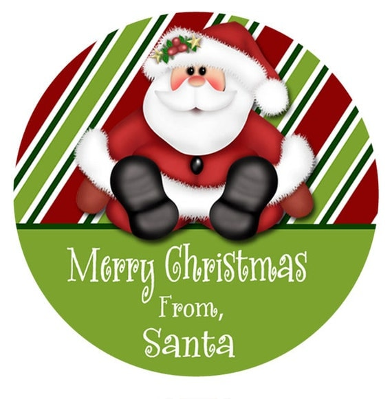 Gift Sticker, Personalized Santa Gift Tag, Christmas Gift Tags ...