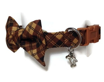 Masculine Brown Plaid Bow Tie Dog Collar size Small