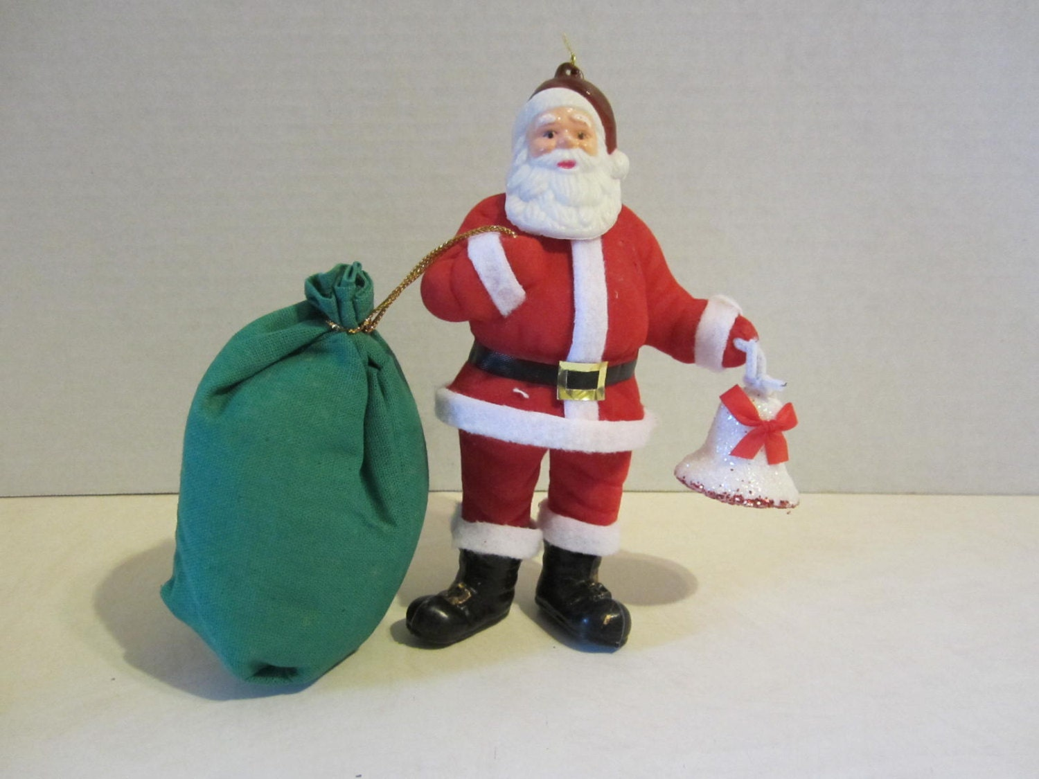 Vintage Santa Claus Holding Toy Sack And Christmas Bell He