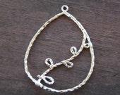 Silver Pendant, Vine, Teardrop, 4.1cm, 2 pieces