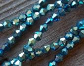 40 Metallic Blue Crystal Bicone Beads 4mm x 4mm
