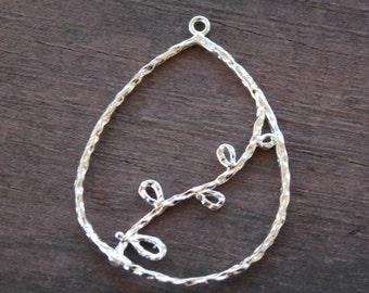 Silver Pendant, Vine, Teardrop, 4.1cm, 1 piece