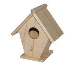 12  pc 4 1/2 Inch Pine Craft Birdhouse CLOSEOUT PRICE!
