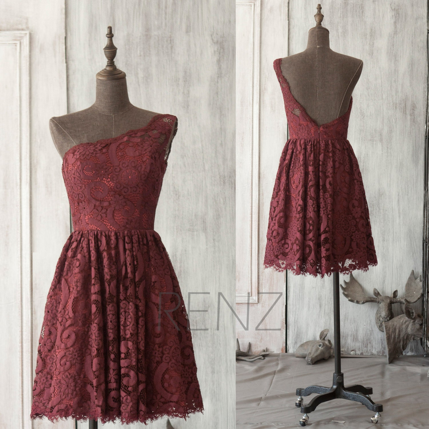 Lace wine bridesmaid dressburgundy wedding dress a line prom for Maroon dresses for wedding
