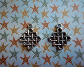 SALE!! 50% OFF 2 Antiqued Silver Finish Pewter Celtic Knot Charms Pendants Two-sided Focal Jewelry