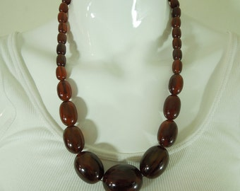 40s Art Deco Tortoise Tea Root Beer Amber Bakelite Necklace 82 Grams Marbled Swirl