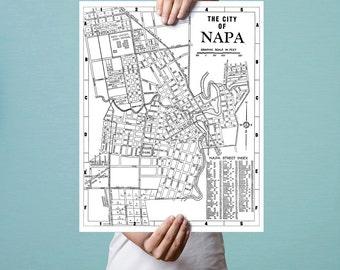 Napa, California, Historic Map, Fine Art Print