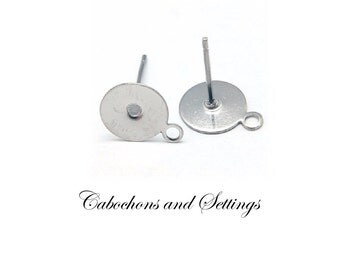 50 x 8mm Glue Pad with Loop Earring Stud Posts Hypo-allergenic 304 Stainless Steel