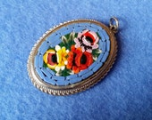 Vintage Micromosaic Oval Pendant - blue with colorful flowers