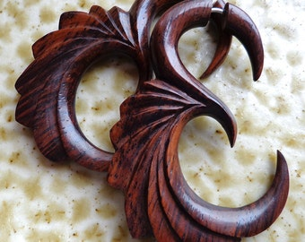 ECO - Hand Carved Brown Sono Wood - Fake Gauge Earrings - Tribal Style Jewelry - Natural and Organic