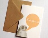 Hapus Welsh Happy Orange Owl Eco Friendly Art Greeting Card