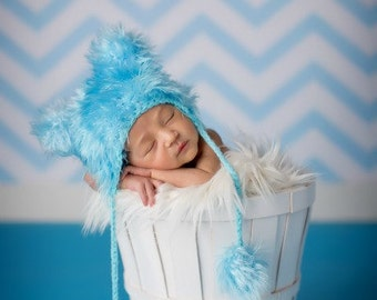 Warm Cozy Ready to ship Blue Fuzzy  Baby Hat Size Newborn 0- 3m  Crochet Photo Prop Boy Girl , Ready to Ship
