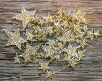 Champagne Glitter Star Confetti, Tiny Hand Cut Stars, Hand Glittered, Great Gatsby Decor, 58 Stars