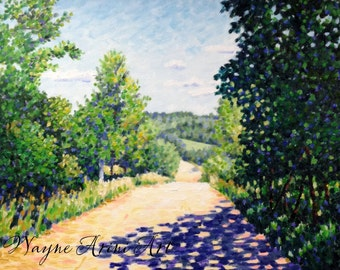 Impressionist Oil Painting - Original Oil 16 x 20 Painting - Michigan Country Road
