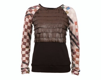 Faux leather fringe tshirt with watercolor print raglan sleeves, brown black pink blue green, sizes L-XL