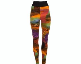 40% SALE High waist printed leggings, abstract print in orange purple black green red, size XS - XL