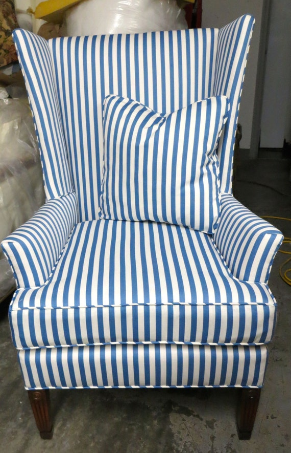 Striped Blue And White Modified Wing Chair By Wydevendesigns