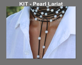 DIY KIT w/ Tutorial Video - Freshwater Pearl Lariat / Multi Wrap Bracelet on Faux Suede Cord - Pick COLOR / PEARLs - 118 -  Instant Ship