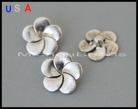 Bulk 25 flower shank buttons 14mm antiqued silver tibetan for Buttons with shanks for jewelry