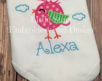 Baby Thermal Blankets for Boy or Girl - Your choice of design - Appliqued and Embroidered