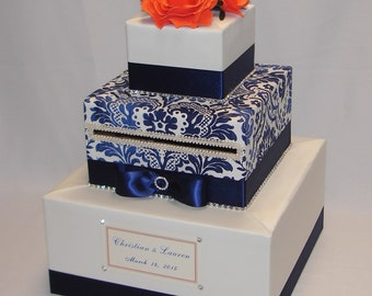 Damask decorated Wedding Card box -any colors