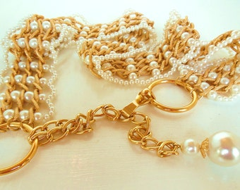 "Vintage Belt Gold Chain Pearl Dangle 37"" 50's - 60s (item 12)"