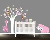 hippo & Giraffe Vinyl Tree Decal,birds butterflies Nursery wall art, owl wall decals for children, owl wall decal, girls