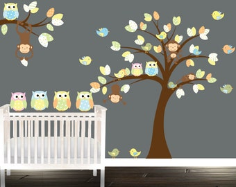 Monkey Nursery Decal, Owl nursery wall decal, owl wall decals, yellow, playroom