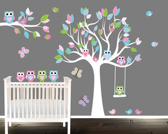Owl and Tree Wall Decal, Vinyl tree stickers, Nursery decal, Birds Owls patterns butterflies, owls