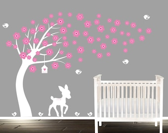 Tree with Flowers blowing, childrens nursery tree decal, fawn and birds, white and pink wall decals nursery