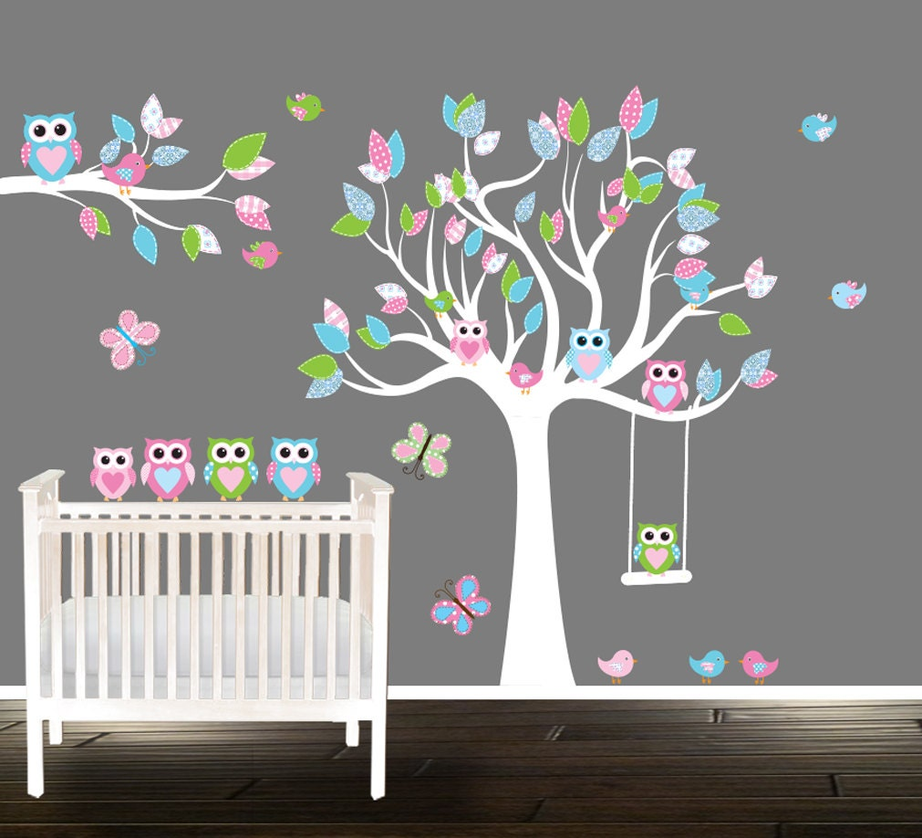 Owl And Tree Wall Decal Vinyl Tree Stickers Nursery Decal