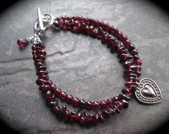 Garnet bracelet double strand with heart charm and toggle clasp Garnet gemstone wire wrapped briolette Beaded gemstone bracelet
