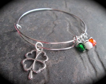 Irish adjustable wire bangle bracelet with four leaf clover charm and Irish flag colors dangle charms Irish jewelry Expandable bangle charms