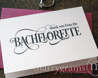 Bachelorette Party Thank You Card- Engagement, Bridal Shower or Bachelorette Thank You Cards, Hot Pink, Purple, Gold CS06 (Set of 10)