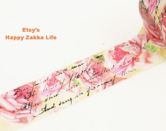 Pink Rose Poem - Japanese Washi Masking Tape -  20mm Wide - 5.5 yards