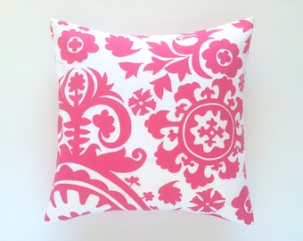 Clearance 50% off Candy Pink Suzani Pillow Cover. Pick a Size. Decorative Cushion Cover. Floral Accent Pillow.