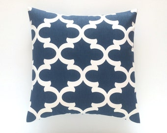 Premier Navy Blue Quatrefoil Throw Pillow Cover. Pick a Size. Decorative Moroccan Couch Pillow Cover.