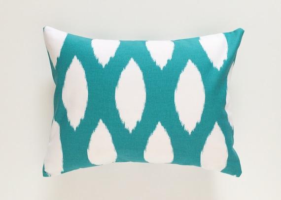 clearance turquoise ikat lumbar pillow cover