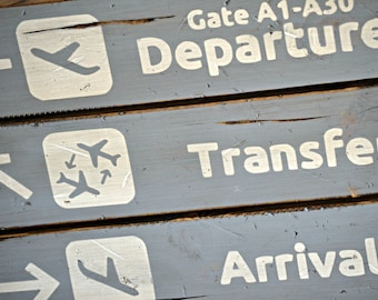 "18"" x 18"" Airport Departures, Transfers, Arrivals, Baggage Claim - Distressed wood sign"