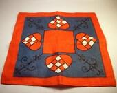 Vintage Linen Doily / Blue & Red Heart - Square / Scandinavian - Swedish / Very Nice