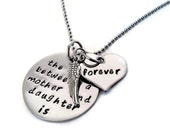 """SALE: Sympathy Mother & Daughter Necklace """"The love between a mother and daughter is forever"""" hand stamped with angel wing"""