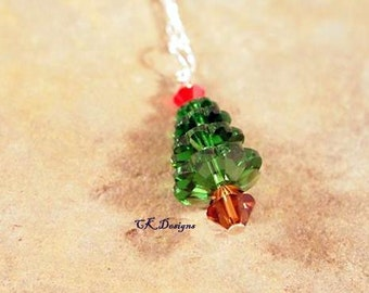 Christmas Necklace Emerald Green Swarovski Crystals Christmas Tree Beaded Dangle Pendents.  CKDesigns.us