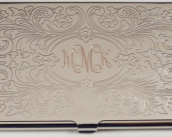 Business Card Case Custom Engraved Personalized Scroll Design Business Card Case  -Hand Engraved