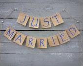 CLEARANCE SALE, Just Married Burlap Banner, Wedding Garland, Wedding Photo Prop, Cobalt Blue Wedding