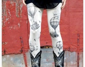 Hot Air Balloon Leggings - IVORY Legging - Tights - OZ - punk leggings - steampunk