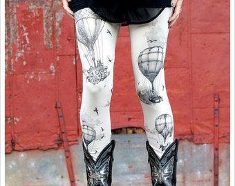 Hot Air Balloon Leggings, printed balloon legging, balloon tights, steampunk leggings, bottoms, pants, yoga pants, caorusel ink