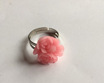 Adjustable Ring - Flower Ring - Kitsch Ring - Rose Ring - Flower Jewelry - Rose Jewelry - Gift For He