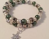 READY TO SHIP-  Nursing/Breastfeeding Bracelets Green and Cream #9
