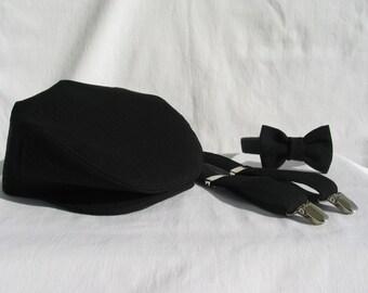 Black Newsboy, Ring Bearer Black Hat, Flat Cap Bow Tie Suspenders Set, Toddler Ring Bearer, Toddlers Flat Cap,  Boy Bow Tie Set, Black Tie