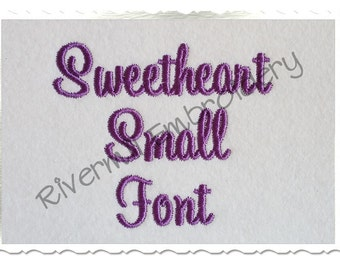 "Small Mini Sweetheart Machine Embroidery Font Monogram Alphabet - 3/4"" Size Only"